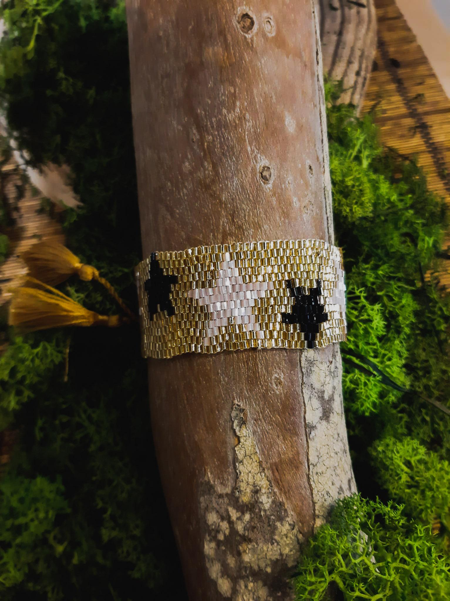 pulsera balinesa brazalete dorado estrella rosa