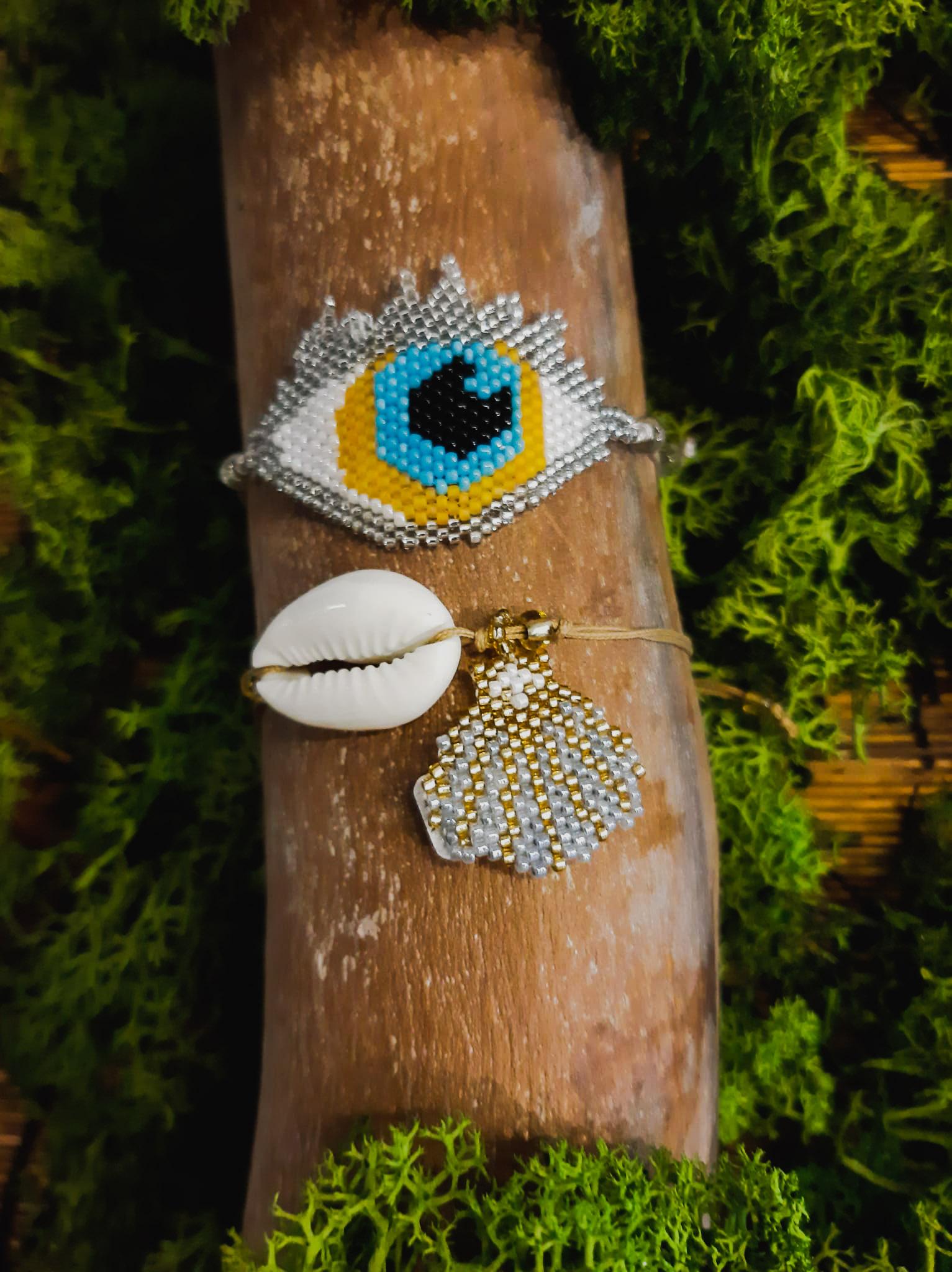 pulsera balinesa  ojo  plata y turquesa